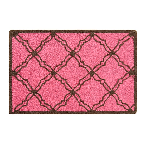 Hooked Kendall Pink Acrylic Rug (2' x 3') - 2' x 3'