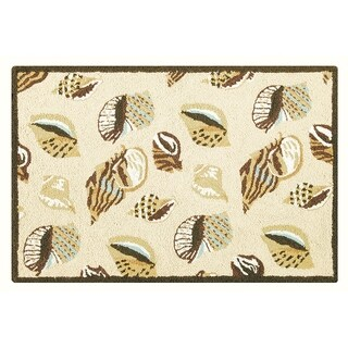 Gold Coast Shells Wool Hooked Rug - 2' x 3'