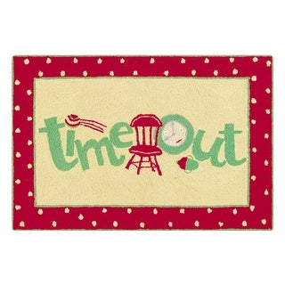 Hooked Time Out Red Wool Rug (2' x 3')