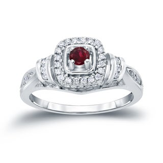 Auriya 14k Gold 1/5ct Ruby and 1/5ct TDW Diamond Engagement Ring (H-I, I1-I2) - Red