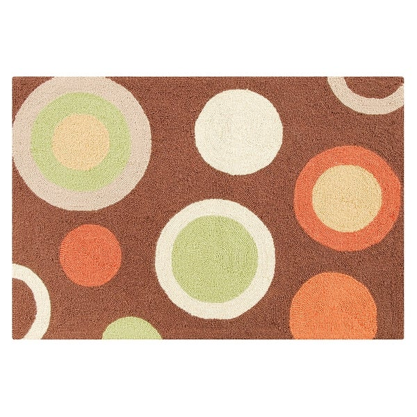 Shop Circles Brown Wool Hooked Rug On Sale Free Shipping Today