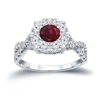 Auriya 14k Gold 1/3ct Ruby and 3/4ct TDW Cluster Diamond Engagement Ring (H-I, I1-I2)
