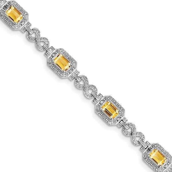 Solid silver citrine bracelet