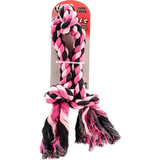"""Rascals 3 Knot 16"""" Rope Tug Dog Toy-Pink"""