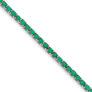 Sterling Silver Rhodium-plated Oval Emerald 7.5in Bracelet