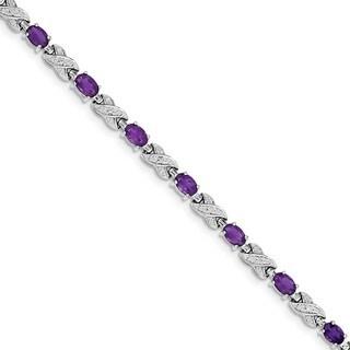 Sterling Silver Rhodium-plated Amethyst Bracelet