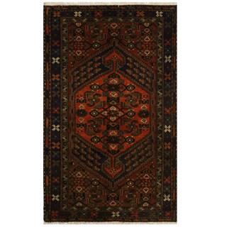 Herat Oriental Persian Hand-knotted Tribal Hamadan Wool Rug (4' x 6'6)
