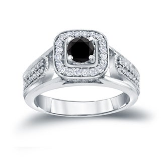 Auriya 14k 1/2ct TDW Halo Black Diamond Engagement Ring (H-I, I1-I2)