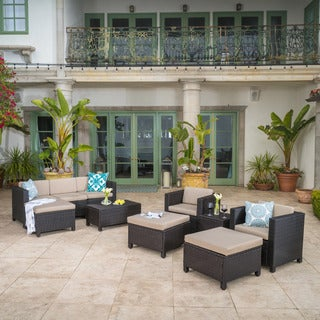 Puerta Outdoor 10-piece Wicker Sofa Set Collection with Cushions by Christopher Knight Home