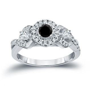 Auriya 14k 3/5ct TDW Halo Black Diamond Engagement Ring (H-I, I1-I2)