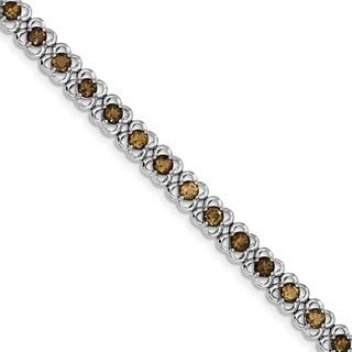 Sterling Silver Rhodium-plated Smoky Quartz Bracelet