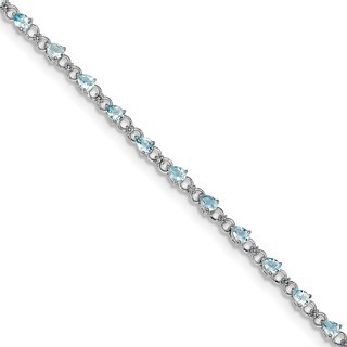 Sterling Silver Rhodium-plated Aquamarine and Diamond Bracelet