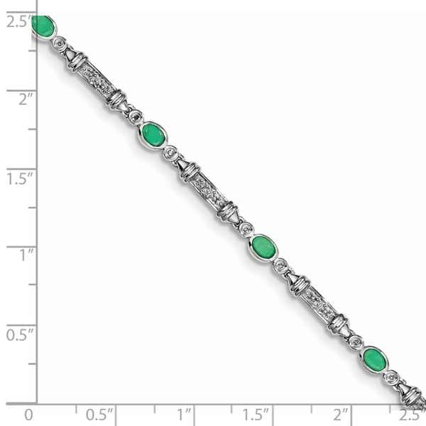 Handmade Genuine White Sapphires Rhodium Finished 925 Sterling Silver Tennis Bracelet