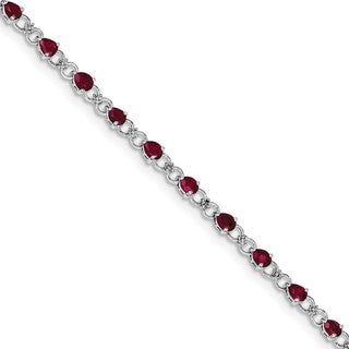 Sterling Silver Rhodium-plated Composite Ruby and Diamond Bracelet