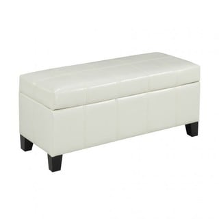 Brassex Storage Ottoman with Storage, White