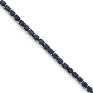Sterling Silver Rhodium-plated Oval Blue Sapphire 7.5in Bracelet