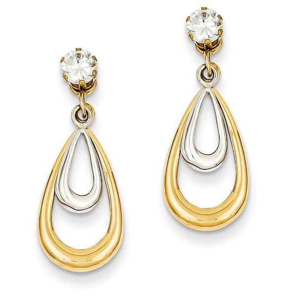 14 Karat Two Tone Polished Withcz Stud Earring Jackets