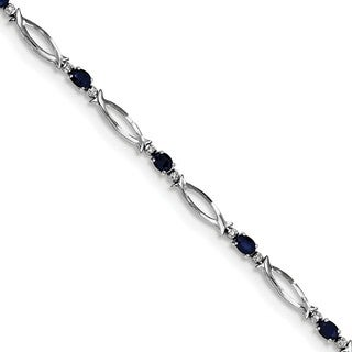 Sterling Silver Rhodium-plated Sapphire and Diamond Bracelet