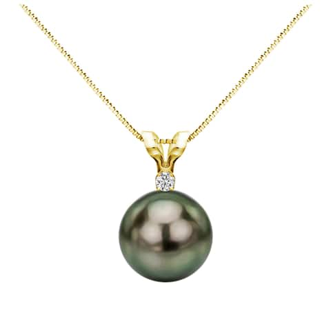 DaVonna 14k Gold 1/20 Diamond AAA 9-9.5 mm Round Black Tahitian South Sea Pearl Pendant, 18-inch