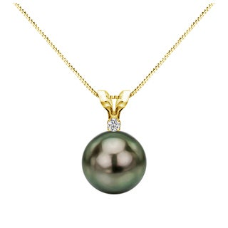 DaVonna 14k Yellow Gold 1/20 Diamond AAA 9-9.5 mm Round Black Tahitian South Sea Pearl Pendant Necklace, 18-inch