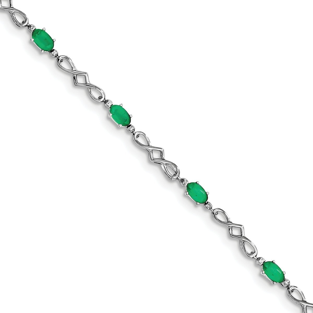 Versil Sterling Silver Rhodium-plated Emerald and Diamond...