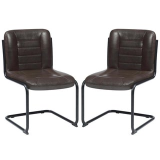 Rino Rustic Retro Designed Brown Upholstered Dining Chairs (Set of 2)