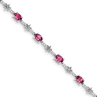 Sterling Silver Rhodium-plated Pink Tourmaline and Diamond Bracelet