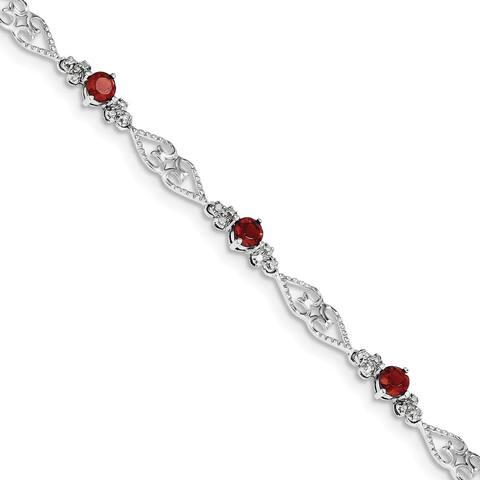 Versil Sterling Silver Rhodium-plated Diamond Garnet Bracelet