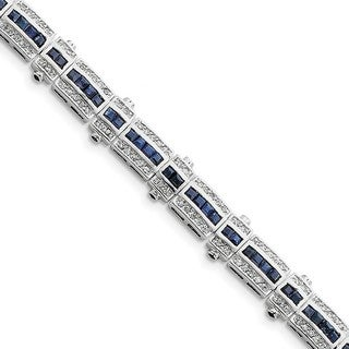 Sterling Silver Rhodium-plated Sapphire & CZ Bracelet