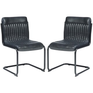 Rino Rustic Retro Designed Dark Grey Upholstered Dining Chairs (Set of 2)