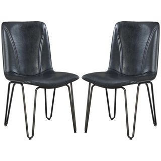 Buffalo Rustic Hairpin Designed Charcoal Upholstered Dining Chairs (Set of 4)