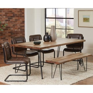 Rino Rustic Hairpin Designed Dining Set with Brown Upholstered Chairs