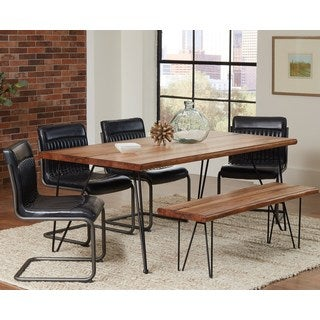 Rino Rustic Hairpin Designed Dining Set with Dark Grey Upholstered Chairs