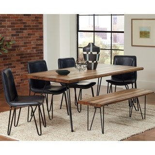 Buffalo Rustic Hairpin Designed Dining Set with Charcoal Upholstered Chairs