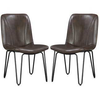 Buffalo Rustic Hairpin Designed Brown Upholstered Dining Chairs (Set of 4)