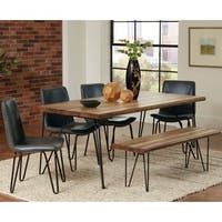 Buffalo Rustic Hairpin Designed Dining Set with Grey Upholstered Chairs