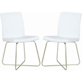 Modern Sleek Design Chrome White Upholstered Dining Chairs (Set of 2)