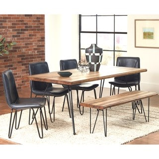 Buffalo Rustic Hairpin Designed Dining Set with Brown Upholstered Chairs