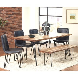 Buffalo Rustic Hairpin Designed Dining Set with Brown Upholstered Chairs (4 options available)