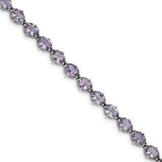 Sterling Silver Rhodium-plated Pink Quartz Bracelet