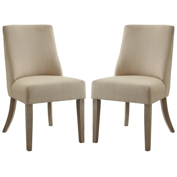 French Inspired Design Beige Upholstered Dining Chairs (Set of 2)