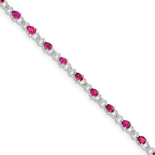 Sterling Silver Rhodium-plated Pink Tourmaline and Diamond Bracelet