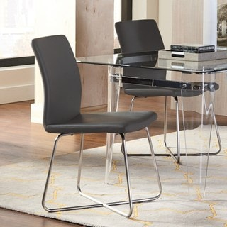 Modern Sleek Design Chrome Grey Upholstered Dining Chairs (Set of 2)