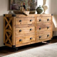 Industrial Design Buffet Storage Drawer Cabinet with Metal Casters