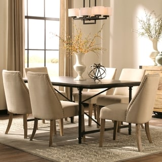 Modern Vintage Industrial Style Natural Blue-stone and Metal Dining Set