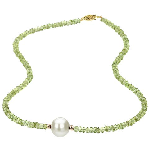 DaVonna 14k Yellow 3-4 mm Gold Green Peridot and 11-11.5mm White Freshwater Pearl Necklace, 16""