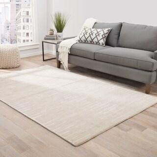 Loran Handmade Stripe Beige/ White Area Rug (9' X 12')