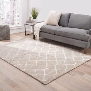 Lubec Handmade Trellis Taupe/ White/ Gray Area Rug (9' X 12')