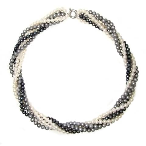 DaVonna Sterling Silver 4.5-5.5mm Twisted 5-rows Multi-colors Freshwater Pearl Necklace, 18""