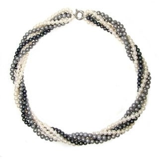 """DaVonna Sterling Silver 4.5-5.5mm Twisted 5-rows Multi-colors Freshwater Pearl Necklace, 18"""""""